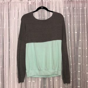 Sweaters - Gray and teal sweater